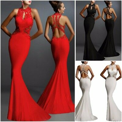 Euro Sexy Backless Fishtail Evening Women Dress Long Casual Party Ladies Dress