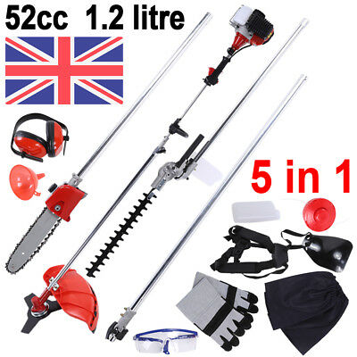 5 in 1 52cc Garden Hedge Trimmer Petrol Strimmer Chainsaw Brushcutter Multi Tool