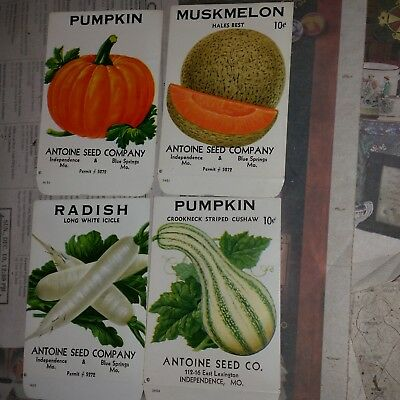 5 VIntage ca. 1950 unused vegetable seed packets from Blue Springs/Indep. MO