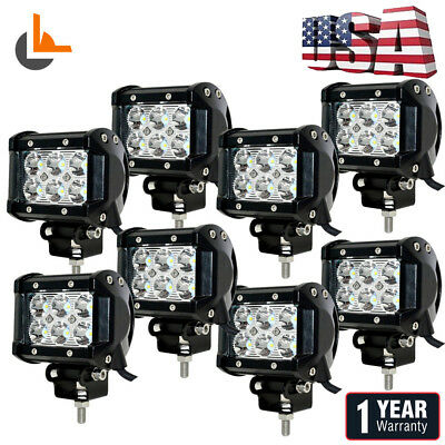 8x 4INCH 18W  LED WORK LIGHT BAR SPOT BEAM DRIVING JEEP TRUCK SUV ATV UTE