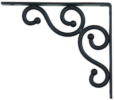 Stanley 250590 Decorative Traditional Shelf Bracket, 7 in L x 8 in W, Black