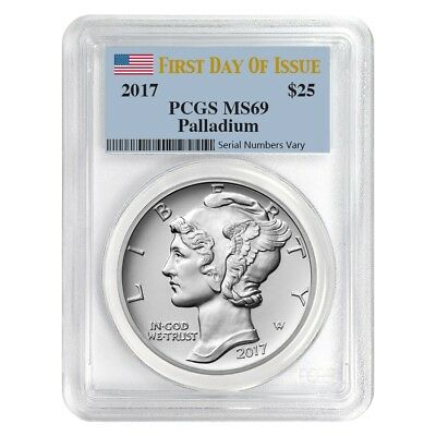 2017 1 oz Palladium American Eagle PCGS MS 69 First Day of Issue