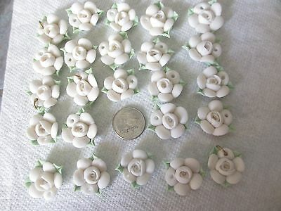 24 Vintage CLAY White FLOWERS w/ HOLES for CRAFTS Decorations FREE SHIPPING! f