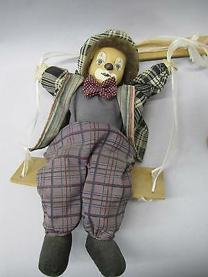 Marionette Clown String Puppet Doll Clown On Swing Hanging Porcelain Clown Doll