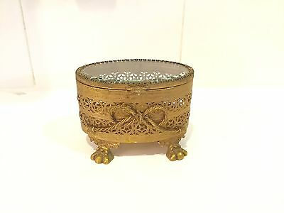 Antique French Gilt Bronze & Bevelled Glass Oval Trinket Box