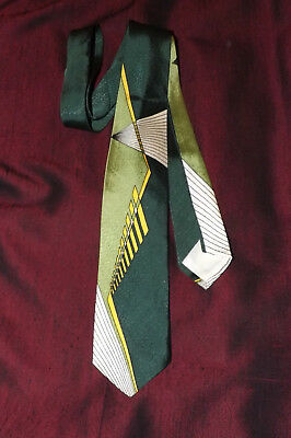1950's VINTAGE TIE > ART DECO IN A RARE GREEN, JACQUARD, NEW OLD STOCK
