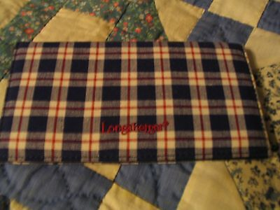 Longaberger Blue Ribbon check book cover NEW L00K retired hard to find