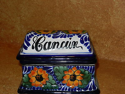 """Talavera Trinket Box Mexican Pottery Cancun 2 Piece Covered Holder 5"""" x 3 3/4"""""""