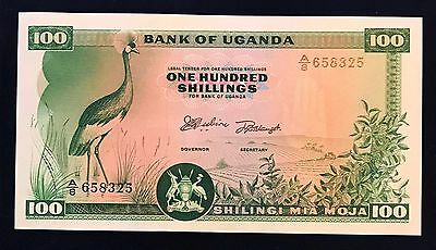 Uganda 100 shillings 1966 Crowned Crane Bird - P5 - UNC