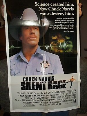 """ Silent Rage "" Chuck Norris Authentic Movie Poster From Theater That Closed"