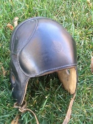 Rare WRIGHT & DITSON Early Old Antique VINTAGE ALL Black Leather Football Helmet