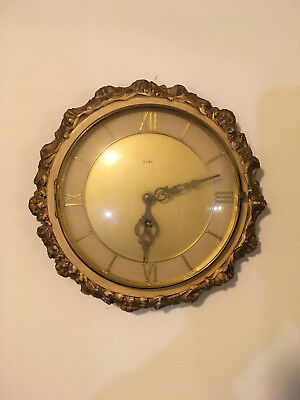 Antique Rope Style Round Hand Carved Oak Platform Movement Timepiece Wall Clock