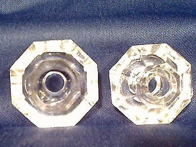 Matching Pair Of Antique Vintage Glass Door Knobs - 8 Sided - Octagon