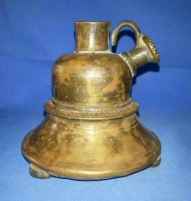Antique Original Brass Hand Engraved Islamic Mughal Hookah Pot With Coin Stand