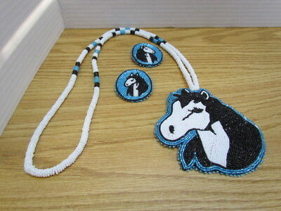 Horse Lover's Dream, Blue & White, Hand Crafted Beadwork, Necklace/Earring Match