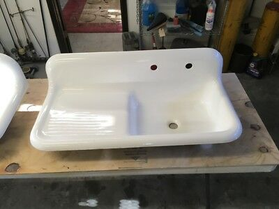 Antique Vintage Cast Iron Porcelain Farmhouse Drain board Kitchen Sink