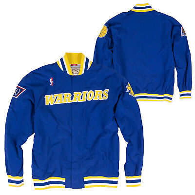 Mitchell   Ness Authentic GOLDEN STATE WARRIORS VINTAGE WARM UP JACKET IN  BLUE 0b784d20d