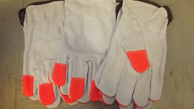 12 Pair, Top Grain Leather Drivers, work safety gloves, Safety Fingers, Size  M