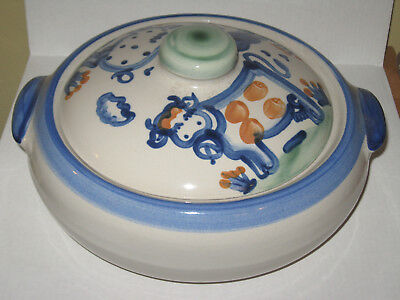 """M A Hadley Country Scene Covered Casserole w Lid Cow Pig 10"""" """"The End"""" 2 Qt"""
