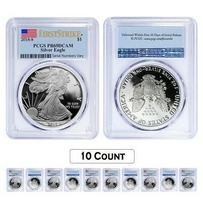 Lot of 10 - 2018-W 1 oz Proof Silver American Eagle PCGS PF 69 DCAM First Strike