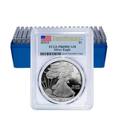 Lot of 20 - 2018-W 1 oz Proof Silver American Eagle PCGS PF 69 DCAM First Strike
