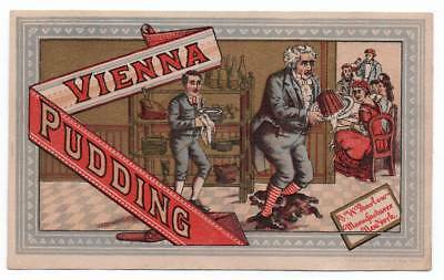 Colorful trade card  Butler with Vienna Pudding trips over dog