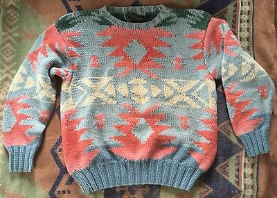 Vintage 90's Polo Ralph Lauren HAND KNIT Native American Sweater