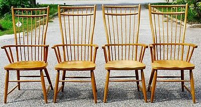 Set Of 4 Peacock Alley Cage Back Oak Arm Chairs