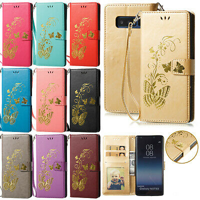 For Samsung Galaxy Phone Butterfly Flip Leather Magnetic Wallet Case Stand Cover