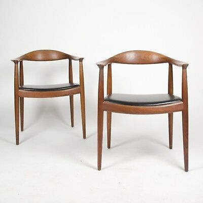 12 Hans Wegner Round The Chair Johannes Hansen Denmark For Knoll Teak Armchairs