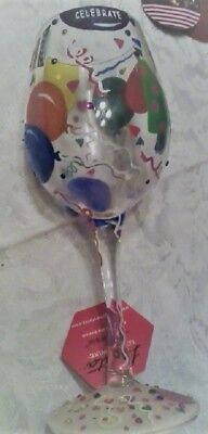 """Lolita from Enesco Love My Wine Glass, """"Celebrate"""" with recipe on the bottom j62"""