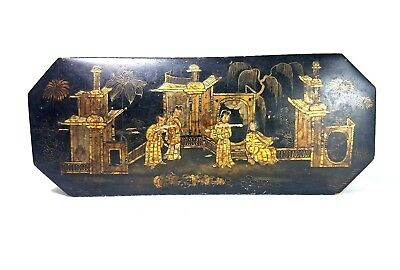Fine Antique Japanese Lacquered Lock Box Gold Scenery