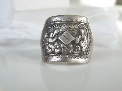 Antique OLD Chinese Import Sterling Silver Wrap Opera Souvenir Mens Ring 12