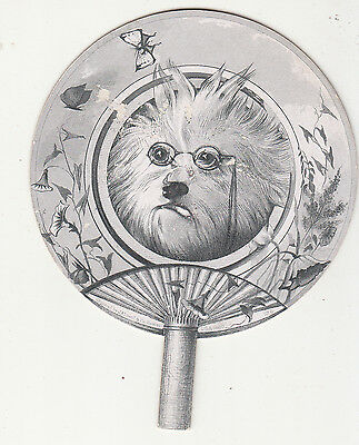 Black & White Fan White Shaggy Dog Spectacles c No Advertising Vict Card c 1880s