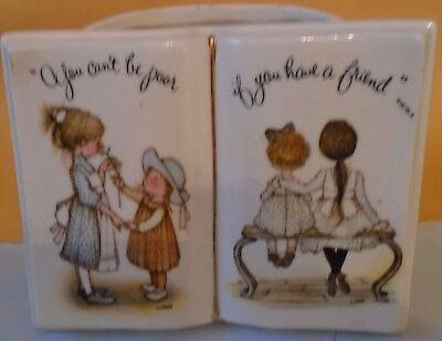 Vintage HOLLY HOBBIE Ceramic Planter You Can't Be Poor if You Have a Friend 1973