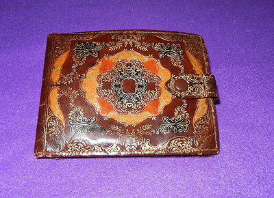 "Italian Leather Gold Embossed Wallet ""Vintage"""
