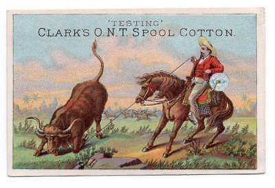 Trade card  Vaquero Cowboy ropes steer with spool of Clark's Thread