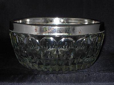 Vintage Pressed Glass Candy Dish with silver plated rim - almost 5 inch diameter