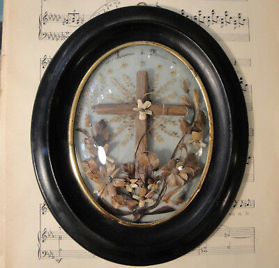 Rare Large Antique French Mourning Hair Art Domed Glass Wooden Frame c1860