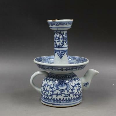 Beautiful Chinese Qing Blue&White Porcelain Flowers Plants Oil Lamp