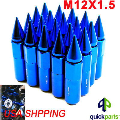 20pcs  BLUE Aluminum Spike Tuner Extended Lug Nuts for Wheels Rims M12X1.5 60mm