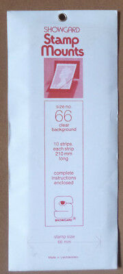 SHOWGARD STAMP MOUNTS 66mm CLEAR Pack of 10 Strips 210mm x 66mm
