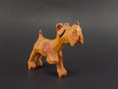 Vintage Hand-Carved Wood - Female Pointing Fox Terrier Figurine
