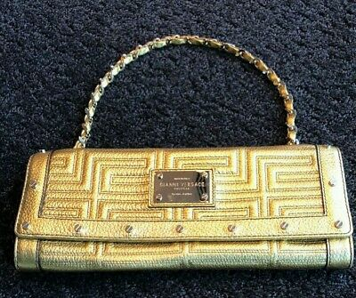 Authentic Gianni Versace Couture Gold Medusa Leather    Bag Clutch With Chain