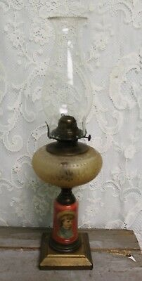 Antique Victorian Rose Color Reverse Painted Kerosene Lamp W/ Queen Anne Burner