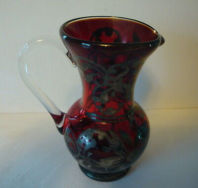 Hand Blown Vintage Ruby Glass Ewer Pitcher Clear Handle Silver Deposit Overlay