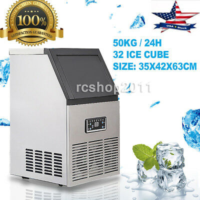50kg Auto Commercial Ice Maker Cube Machine Stainless Steel Bar 110Lbs 110V US