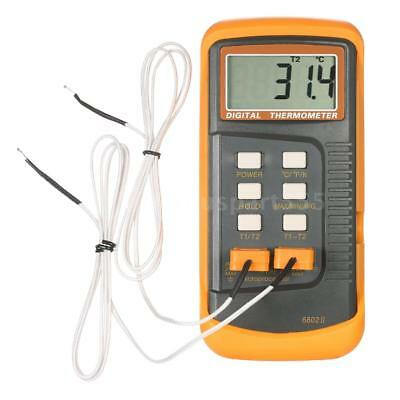Backlight LCD 2 Channel K-Type Digital Thermometer Thermocouple Sensor Q4A9