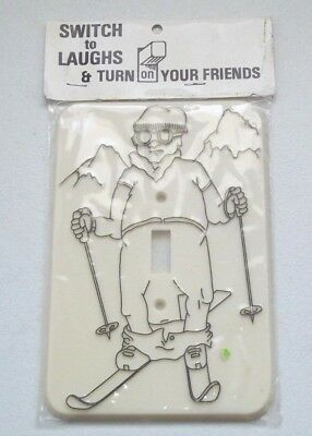 Vintage Flash It Corp. Skier Light Switch Cover Plate - NOS 1980