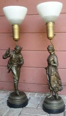 Antique French Statue Lamp Spelter Signed RANCOULET Man Woman Pair Art Bronze US